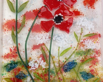 Poppies, wildflowers and a bumble bee