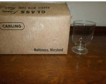 REDUCED Set of Six Vintage Carling Black Label Beer Hollow Stem Glasses Baltimore MD Brand New In Box