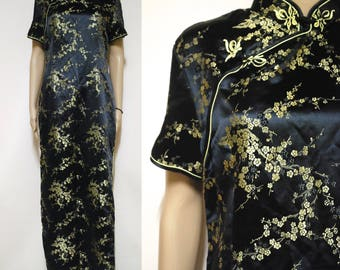 Silk Dress Vintage 70s Black Gold Cheongsam Dress Oriental Chinese Floral Womens Clothing Long Length Vtg Retro 1970s Size S-M