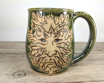 Greenman Mug - 16 oz - Autumn 2017 - Fall Coffee Mug Mugs - Big Ceramic Mug - Tea Mug Stoneware - Fall Latte Mug - Outdoorsy - Mesiree
