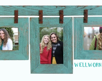 Barnwood Conestoga Collage frame for (3) 5x7s. Your choice of colors & orientation.