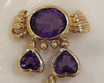 14k yellow gold amethyst  crab pendant