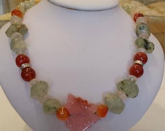 Green prehnite ,  rose quartz and cornelian necklace