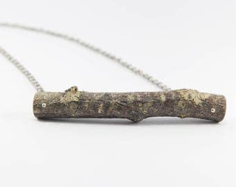 Large Natural Birch Wood Necklace with Silver color chain. Eco friendly. Handmade in Latvia for nature lovers