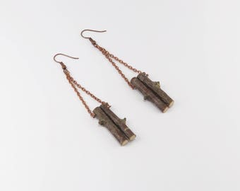 Handmade Natural Birch Wood Earrings. Copper Chain and findings. Eco friendly. Perfect Gift for nature lovers