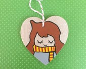 HERMIONE GRANGER ORNAMENT- Harry Potter Christmas Decoration, Hand Painted Wooden Holiday Decor, Geeky Fandom Inspired Art, Kawaii Gift