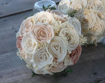 Blush Pink Rose Bouquet, Dusty Rose Bouquet, Sola Rose Bouquet, Pink Rose Bouquet, Blush Pink Centerpiece, Blush Pink Sola Flowers
