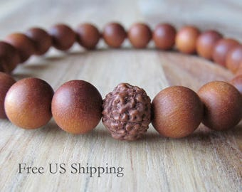 Sandalwood and Rudraksha Bracelet, Womens or Mens Bracelet, Buddhist Yoga Jewelry, Mala Bracelet, Beaded Wood Bracelet, Layering, Stacking