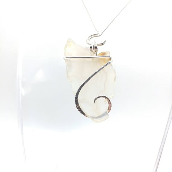 Ghost Agate Pendant   Sterling Silver   Natural Stone Necklace   Gift for Mom   Gemstone Necklace   Gemstone Pendant