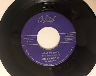 Vintage Vinyl 45 RPM Gene Vincent and His Blue Caps Capitol Records BMI-F3763