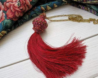 Red tassel pendant, beaded necklace, exclusive handmade jewelry, fashion 2017, unique tassel, statement necklace, gift for birthday OOAK