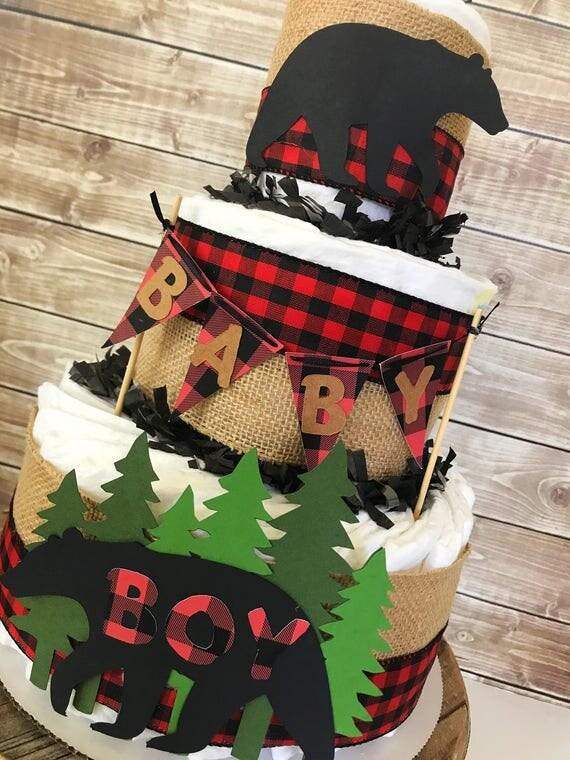 Woodland Lumberjack Themed Baby Shower Cakes