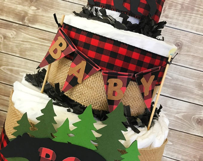 Featured listing image: Lumberjack Baby Shower Diaper Cake, Lumberjack Baby Shower Centerpiece, Buffalo Check Baby Shower Decor