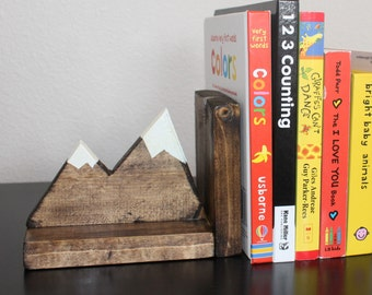 Kids Bookends Bookshelf Decor Mountains Adventurer Explorer Nursery Painted Stained Wood Wooden Book Holders Boys Room Kids