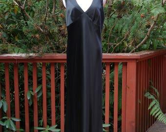 Black Bias Cut Silk and Chiffon Gown Glam Noir Goddess Dress