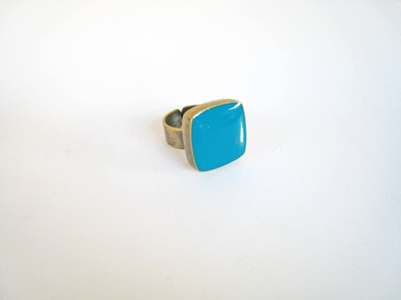 Teal statement ring, bronze teal blue-green cyan ring, teal resin ring, modern minimalist jewelry, square cocktail ring, color block jewelry