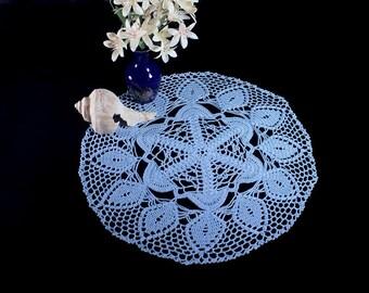 Crochet Doily, Round, 14-inch, Light Blue,  Crochet Mat, Crochet Lace, Fine Art Crochet, Cotton