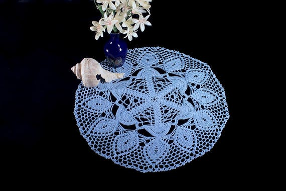 Crochet Doily, Round, 14-inch, Light Blue,  Crochet Mat, Crochet Lace, Fine Art Crochet, Cotton