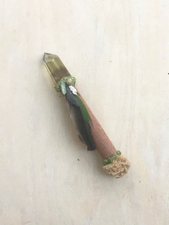Leopard Wood, Smoky Citrine, Desert Rose, Peridot, Grossular Garnet, Green Kyanite Shamanic Healing Wand Energy Healing Native American OOAK