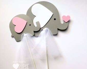 Elephant Centerpiece or Cake Smash Topper in Light Pink & Grey. Baby shower, baby sprinkle, first birthday party. Baby girl.