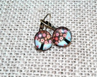 FREE SHIPPING AUSTRALIA only 12mm Bronze earring with tree covered in flowers cabochon