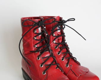 Vintage Justin Cherry Red Lace Up Boots Size 4.5B | 5 | 5.5