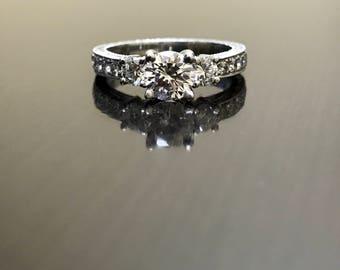 Art Deco Platinum Three Stone Diamond Engagement Ring - Platinum Art Deco Diamond Wedding Ring - Hand Engraved Platinum Ring - Diamond Ring