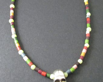 Colourful Beaded Necklace with Skull Pendant