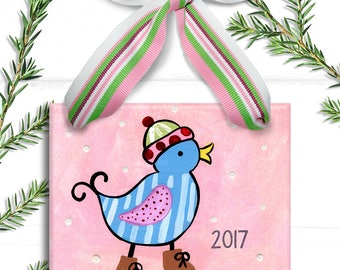 Pink Bird Ornament - Personalized Girl Ornament - Girls personalized Gift - Stocking Stuffer - Big Sister Ornament - Big Sister Gift