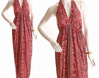 1970s Backless Halter Top Pink and Black Paisley Print Dress-M