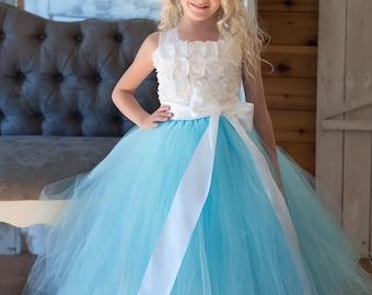 Flower girl dress - Tulle flower girl dress - Tutu Dress - Tulle dress-Infant/Toddler - Pageant dress - Princess dress -White flower dress