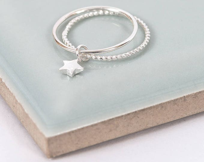 Featured listing image: Sterling Silver Twinkle Little Star Midi Ring