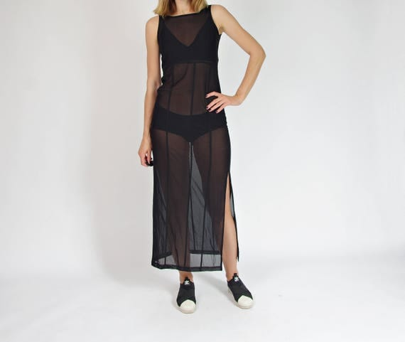 SALE! 90s Black transparent sexy babe sheer mesh maxi dress / size S-M
