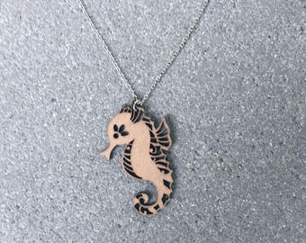Laser Cut Wood Seahorse Necklace \\ Wood Jewelry \\ Silver Chain