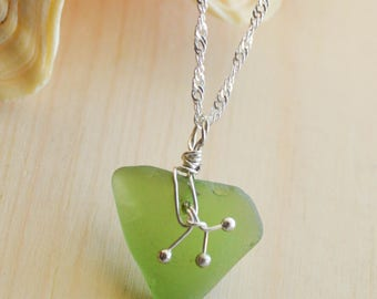Sterling Silver necklace with green sea glass pendant--Valentine's Day, Anniversary, Holiday gift--Bridesmaid necklace Free Shipping