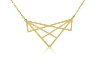 Geometric PendantNecklace, Geometric Necklace, Triangle Necklace, Gold Triangle Necklace,Short Chain Necklace, Trendy Gold Plated Jewelry