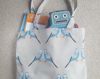 Budgie Tote Bag. Sale! Summer Bird Bag. Blue Birds. Blue Tote. Reusable Eco Tote Bag. Reusable Grocery Bag. Made in the UK. Made in Britain