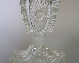 Spectacular Vintage Large Perfume Scent Bottle Flacon Czech Cut Crystal Glass
