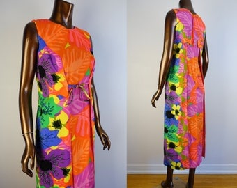 Vintage 60s Hawaiian Barkcloth Maxi Dress Tiki Neon Tropical Floral Print Dress XS S