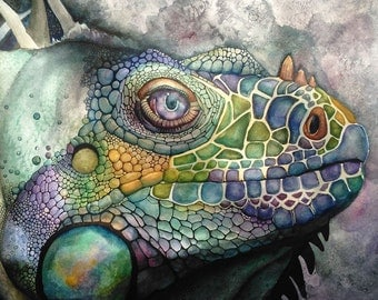 Watercolor Iguana Fine Art Print