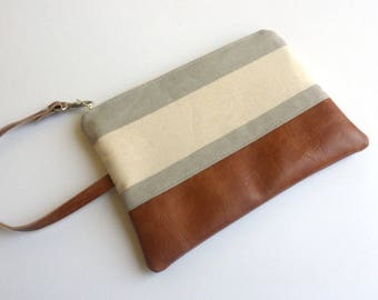IPhone Wallet, Wristlet Wallet, Bridesmaid Gift, Bridesmaid Clutch, Gray Striped Clutch