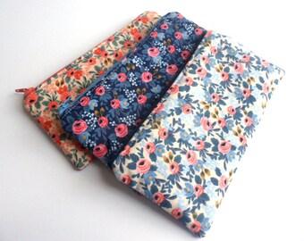 Floral Pencil Pouch, Small Zipper Pouch, Pencil Case, Purse Organizer, Makeup Bag, Rifle Paper Co