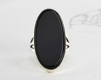 Vintage Sterling & Onyx Ring, Dramatic Gothic Bohemian Statement Ring Festival Jewelry