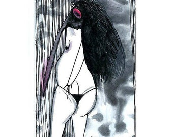 Quirky ACEO art card Surreal art ACEO original card, ooak original drawing, atc card ilustration, watercolor painting, black & white weird