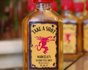 """Birthday Party Favor """"Take A Shot""""  Fireball Whisky shot labels"""