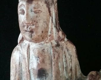 ANTIQUE Chinese Quan Yin statue stone Kwan Yoin Antique