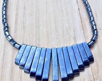 Hematite Beaded Geometric Minimalist Necklace