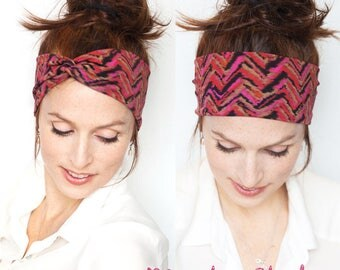 Red Turban Headband - Red Headband Red Turban Hot Pink Headband Aztec Prints Headband Workout Fitness Tribal Prints Christmas Gift for her