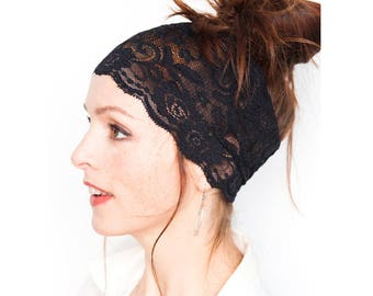 Flower Headband - Stretch Black Lace Headband - Boho Headband - Wide lace headband Hair Accessories - Lace Fabric GIft for her Etsy Finds