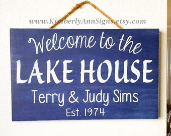 Lakehouse sign, Lake house signs, Beach house sign, Personalized sign, wood signs, Last name sign, Established sign, Lake sign,  Cabin sign